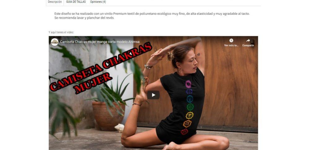 Video en la descripción de producto de tienda online
